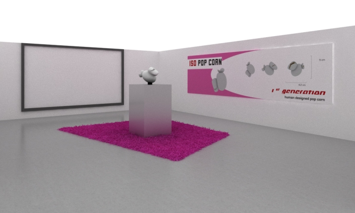 Installation simulating a product presentation (ISO pop corn, billboard, teaser, plinth, carpet)